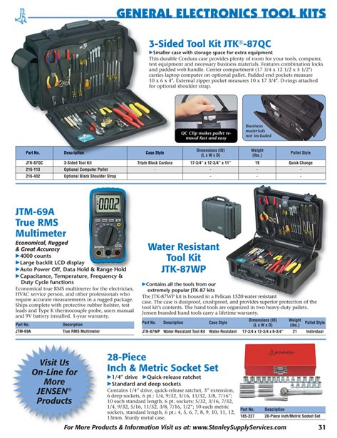 Catalogs / 2014 Tool Kit Guide / Pages 31-32 | JENSEN Tools
