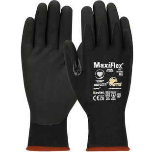PIP 34-1743/S Gloves, Seamless Knit, Kevlar, MicroFoam Nitral Coat, Black, MaxiFlex Cut Series, Small