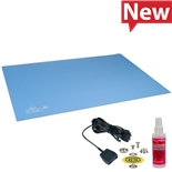 Desco 66325 Statfree UC Dual Layer Rubber Mat, Sky Blue, 0.080''X30''X72''
