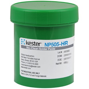 Kester 7040210919 Solder Paste, Zero-Halogen, No Clean, Lead Free, Sn96.5Ag3Cu0, T4 88.5%, 750g Dek, NP505-HR Series