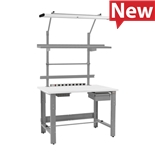 """TestEquity RE3048TE Height Adjustable Workstation with Accessories and Standard Top, 30"""" x 48"""""""