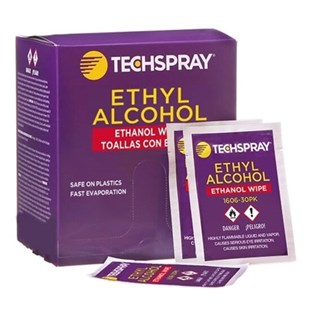 Techspray 1606-30PK Wipes, 99.8% Isopropyl Alcohol (IPA), Individually Packaged, 30/Pkg
