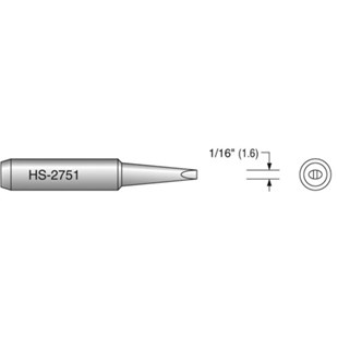 "Plato HS-2751 1/6"" Chisel Solder Tip, Interchangeable for T18-D16"