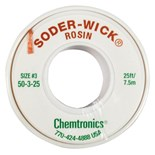 "Chemtronics 50-3-25 SODER-WICK® Rosin Desoldering Braid, .080"", 25ft"