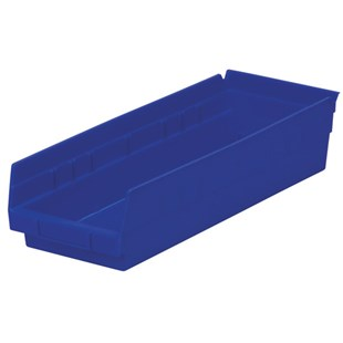 "Akro-Mils 30-138 18"" Shelf Bins, Blue, OD 17-7/8"" L x 6-5/8"" W, 12/Carton"