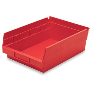 "Akro-Mils 30-150 12"" Shelf Bins, Red, OD 11-5/8"" L x 8-3/8"" W, 12/Carton"