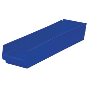 "Akro-Mils 30-164 24"" Shelf Bins, Blue, OD 23-5/8"" L x 6-5/8"" W, 6/Carton"