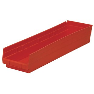 "Akro-Mils 30-164 24"" Shelf Bins, Red, OD 23-5/8"" L x 6-5/8"" W, 6/Carton"