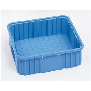 "Metro TB91035BAS Static Dissipative Tote Box, Blue, ID (Bottom) 9.1"" L x 6.5"" W x 3"" H"