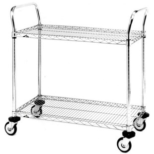 "Metro MW604 Stainless Steel Utility Cart with Two Shelves, 18"" x 30"" x 38"""