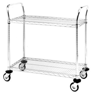 "Metro MW603 Mobile Utility Cart with Two Wire Chrome Shelves, 18"" x 30"" x 39"""