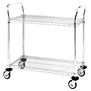 """Metro MW605 Mobile Utility Cart with Two Wire Chrome Shelves, 18"""" x 36"""" x 39"""""""