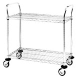 "Metro MW607 Mobile Utility Cart with Two Wire Chrome Shelves, 21"" x 36"" x 39"""