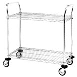 "Metro MW611 Mobile Utility Cart with Two Wire Chrome Shelves, 24"" x 36"" x 39"""