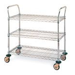 "Metro MW705 Mobile Utility Cart with Three Wire Chrome Shelves, 18"" x 36"" x 39"""