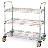 "Metro MW711 Mobile Utility Cart with Three Wire Chrome Shelves, 24"" x 36"" x 39"""