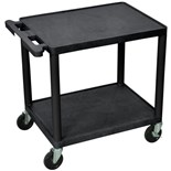 "Luxor LP26E Mobile Instrument Cart with Power Strip, 2 Shelf, 18"" x 24"" x 26"""