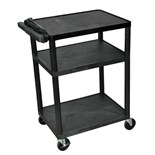 "Luxor LP34E Mobile Instrument Cart with Power Strip, 3 Shelf, 18"" x 24"" x 34"""