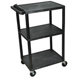 "Luxor LP42E Mobile Instrument Cart with Power Strip, 3 Shelf, 18"" x 24"" x 42"""