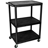 "Luxor LP48E Mobile Instrument Cart with Power Strip, 3 Shelf, 24"" x 32"" x 48"""
