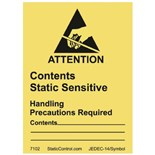 """SCS 7102 Contents Static Sensitive Attention Write-On Labels, 1.875"""" x 2.5"""", 500/Roll"""