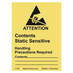 "SCS 7102 Contents Static Sensitive Attention Write-On Labels, 1.875"" x 2.5"", 500/Roll"