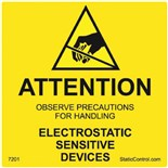 "SCS 7201 Electrostatic Sensitive Devices Attention Labels, Reusable, Mil-STD-129, 2"" x 2"", 500/Roll"