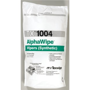"Texwipe TX1004 AlphaWipe® 100% Continuous-Filament Polyester, 4"" x 4"", 300/Bag"