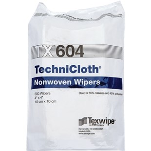 """Texwipe TX604 TechniCloth® Cleanroom Wipes Cellulose/Polyester Blend, 4"""" x 4"""", 1200/Bag"""