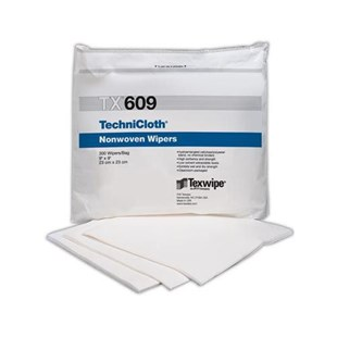 """Texwipe TX609 TechniCloth® Cleanroom Wipes Cellulose/Polyester Blend, 9"""" x 9"""", 300/Bag"""