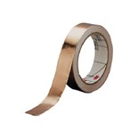 "3M 1181-1/2 SMOOTH COPPER FOIL CONDUCTIVE ACRYLIC ADHESIVE, 2.6 MIL TAPE ON LINER 1/2"" X 18 YARDS"