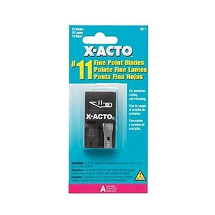 X-Acto 411 #11 Classic Fine Point Blades with Safety Dispenser, 15/Dispenser