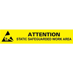 """Desco 06751 Attention Static Work Area Bench Sign, 1"""" x 6"""""""