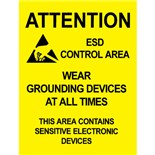 "Desco 06742 Attention ESD Area Warning Sign, 17"" x 22"" , 5/Pkg"
