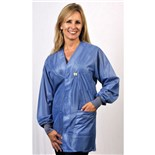 Tech Wear HOJ-23C ESD-Safe Groundable V-Neck Hip Length Jacket with Knit Cuffs, Small