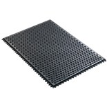 "Desco 40930 Statfree I Ergonomic Conductive Black Floor Mat with Interlocking Section, 0.625"" x 2' x 3'"