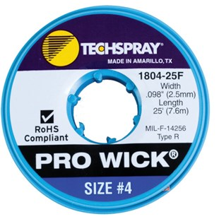 "Techspray 1804-25ft Pro Wick® Rosin Desoldering Braid, .100"", 25ft."