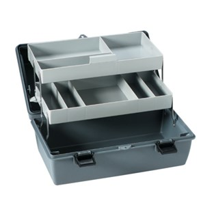 Flambeau Cantilever-Tray Tool/Parts Box, 2 Trays, 8 Compartments