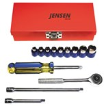 "Jensen Tools 501S W/BOX 14-pc. 1/4"" Drive Inch Socket Set"
