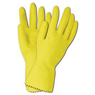 620L Large Flock-Lined Yellow Latex Gloves