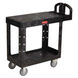 "Rubbermaid 4505 Small Flat-Shelf Black Utility Cart, 38"" x 19"" x 33"", 34-1/2 lbs."