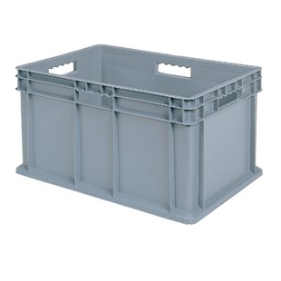 """Akro-Mils 37-688 Straight Wall Container (Solid Base/Solid Sides), O.D. 23-3/4"""" L x 15-3/4"""" W x 8-1/4"""" H, 4/Carton"""