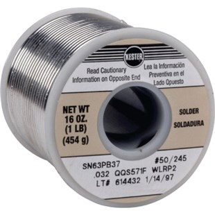 Kester 2463378800 Solder Wire, No Clean, Leaded, Sn63Pb37, 1.1%, 0.031 in (0.80 mm), 245 Series