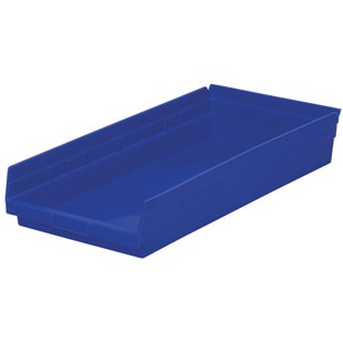 "Akro-Mils 30-174 24"" Shelf Bins, Blue, OD 23-5/8"" L x 11-1/8"" W, 6/Carton"