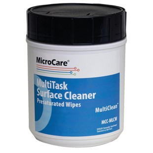 "MicroCare MCC-MLCW MultiTask Surface Cleaner Presaturated Wipes (70% IPA 30% DI Water), 8"" x 5"", 100/Container"
