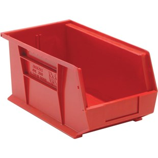 "Quantum Storage Systems QUS240 Parts Bin, Red, OD 14-3/4"" x 8-1/4"" x 7"""