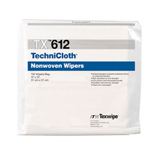 "Texwipe TX612 TechniCloth® Cleanroom Wipes Cellulose/Polyester Blend, 12"" x 12"", 150/Bag"