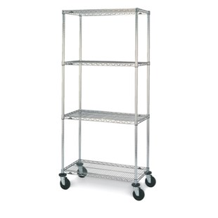 "Metro N536BBR Mobile Four Shelf Wire Cart with Brite Finish, 24"" x 36"" x 67-7/8"""