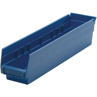 "Quantum Storage Systems QSB103 Shelf Bin, 17-7/8"" x 4-1/8"" x 4"", Blue"