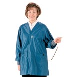 Tech Wear HIJ-43C-XL Groundable Anti-static Unisex Jacket with Knit Cuffs, Blue, X-Large